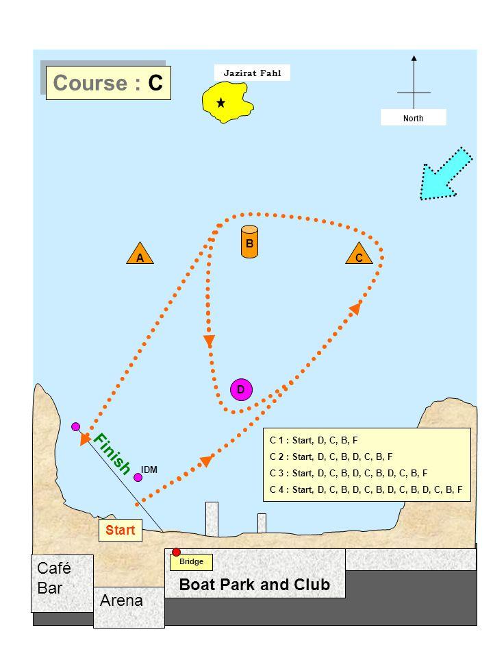 Arena Café Bar Jazirat Fahl Start / Finish North Boat Park and Club Bridge D A B Start C Finish IDM Course : C C 1 : Start, D, C, B, F C 2 : Start, D, C, B, D, C, B, F C 3 : Start, D, C, B, D, C, B, D, C, B, F C 4 : Start, D, C, B, D, C, B, D, C, B, D, C, B, F