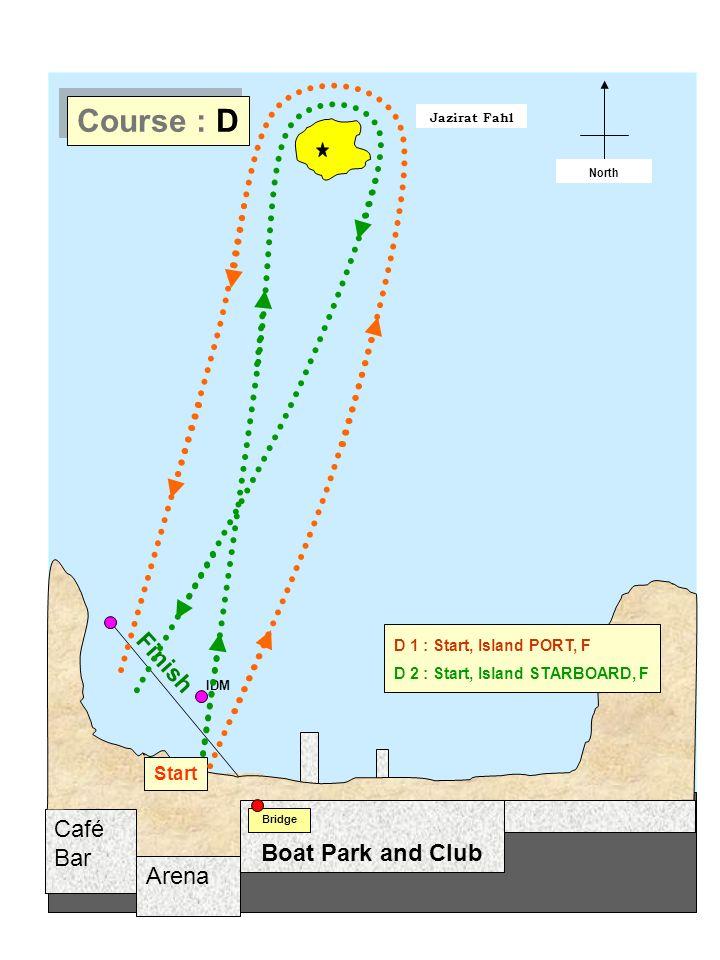 Arena Café Bar Jazirat Fahl Start / Finish North Boat Park and Club Bridge Start Finish IDM Course : D D 1 : Start, Island PORT, F D 2 : Start, Island STARBOARD, F