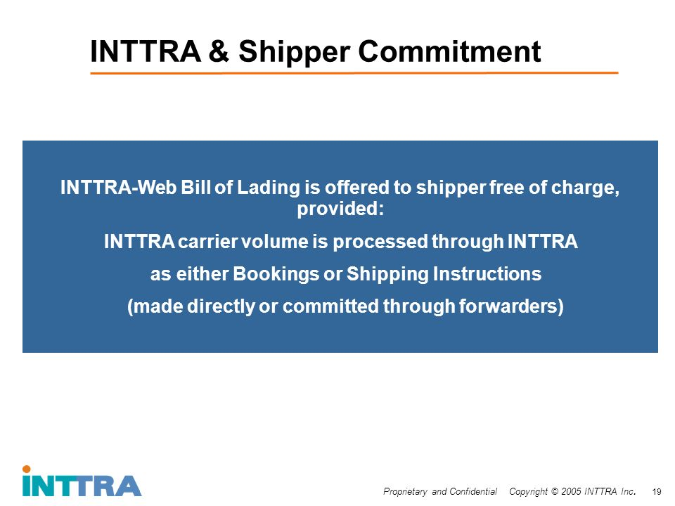 Proprietary and Confidential Copyright © 2005 INTTRA Inc. 19 INTTRA & Shipper Commitment INTTRA-Web Bill of Lading is offered to shipper free of charg