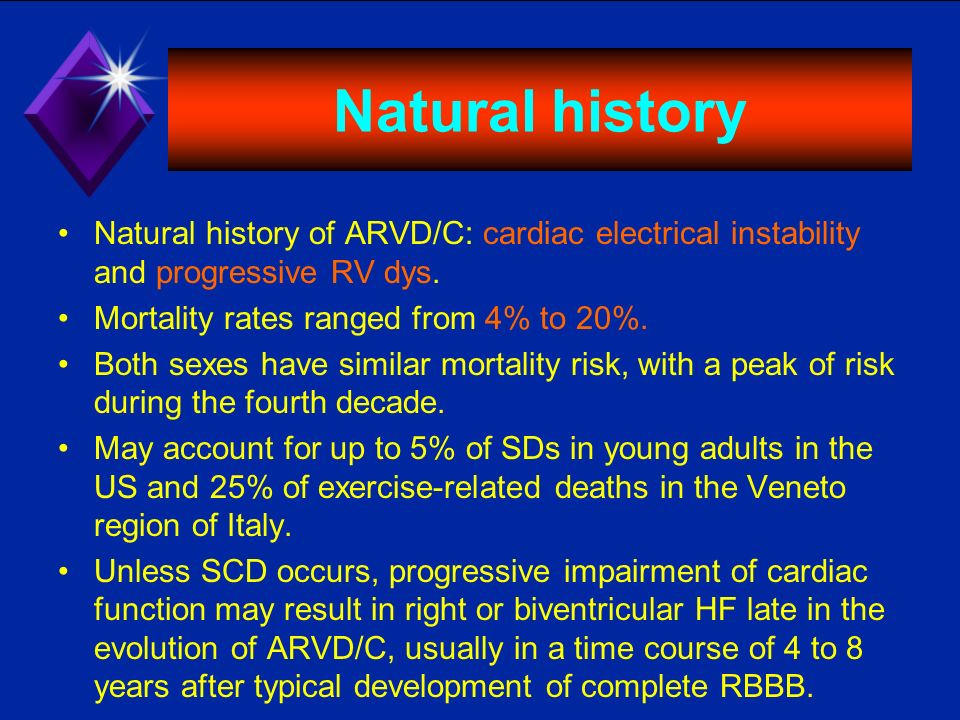Natural history Natural history of ARVD/C: cardiac electrical instability and progressive RV dys. Mortality rates ranged from 4% to 20%. Both sexes ha