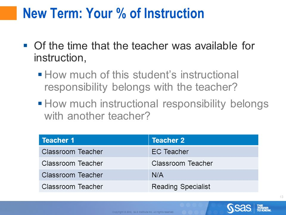 13 Copyright © 2010, SAS Institute Inc. All rights reserved. New Term: Your % of Instruction Of the time that the teacher was available for instructio