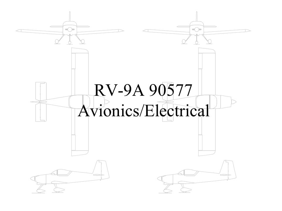 Design the Electrical System Lights, heated pitot, strobe system, alternator/battery system Connectors: wing-root disconnect, panel disconnect Start with the Aeroelectric Connection on-line.