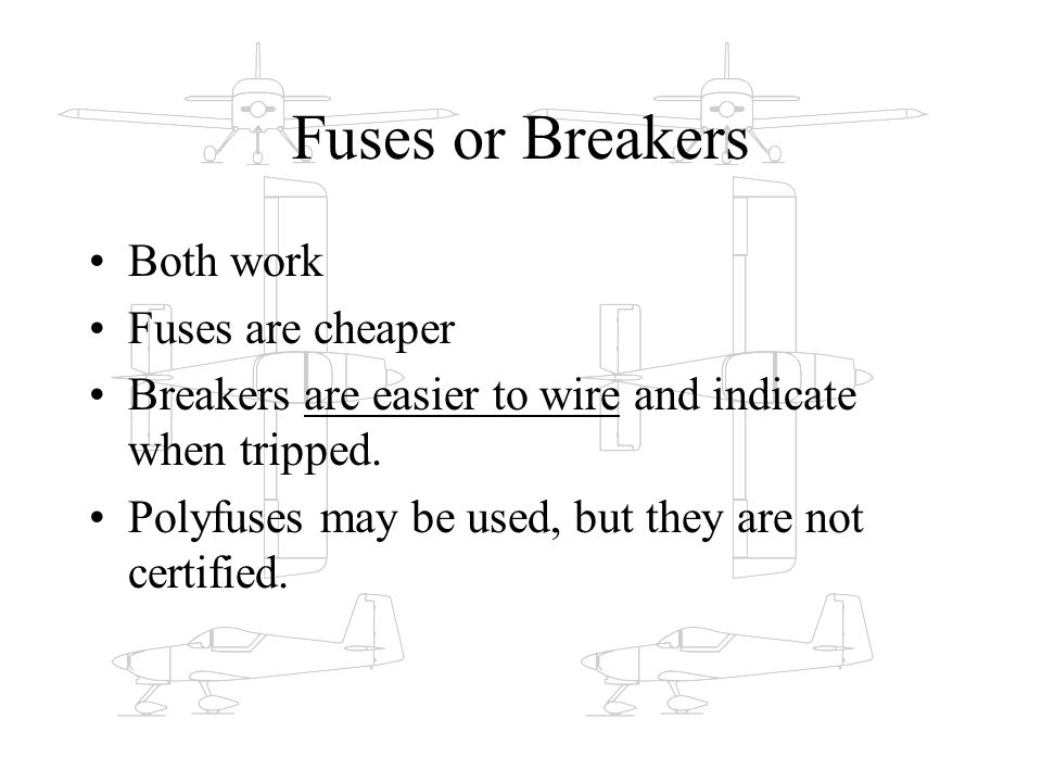 Fuses or Breakers Both work Fuses are cheaper Breakers are easier to wire and indicate when tripped. Polyfuses may be used, but they are not certified