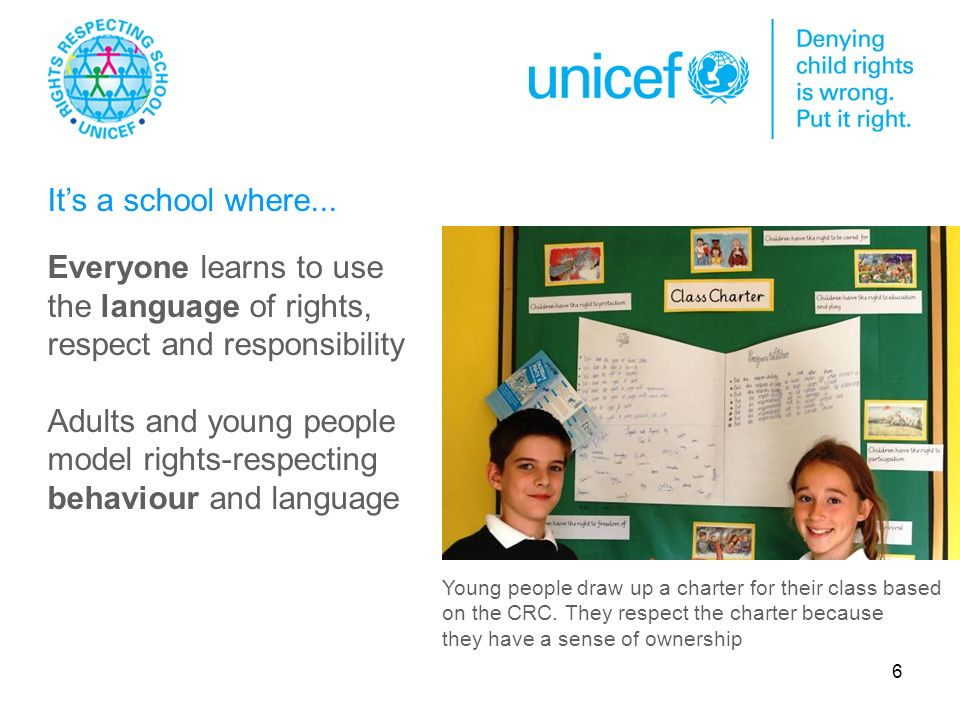 6. Everyone learns to use the language of rights, respect and responsibility Adults and young people model rights-respecting behaviour and language Yo