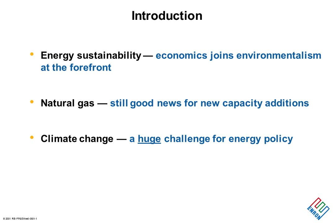 © 2001 RB-FP&EWest-0501-1 Introduction Energy sustainability economics joins environmentalism at the forefront Natural gas still good news for new capacity additions Climate change a huge challenge for energy policy