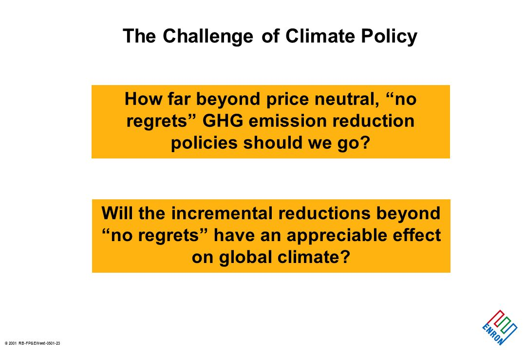 © 2001 RB-FP&EWest-0501-23 The Challenge of Climate Policy How far beyond price neutral, no regrets GHG emission reduction policies should we go.