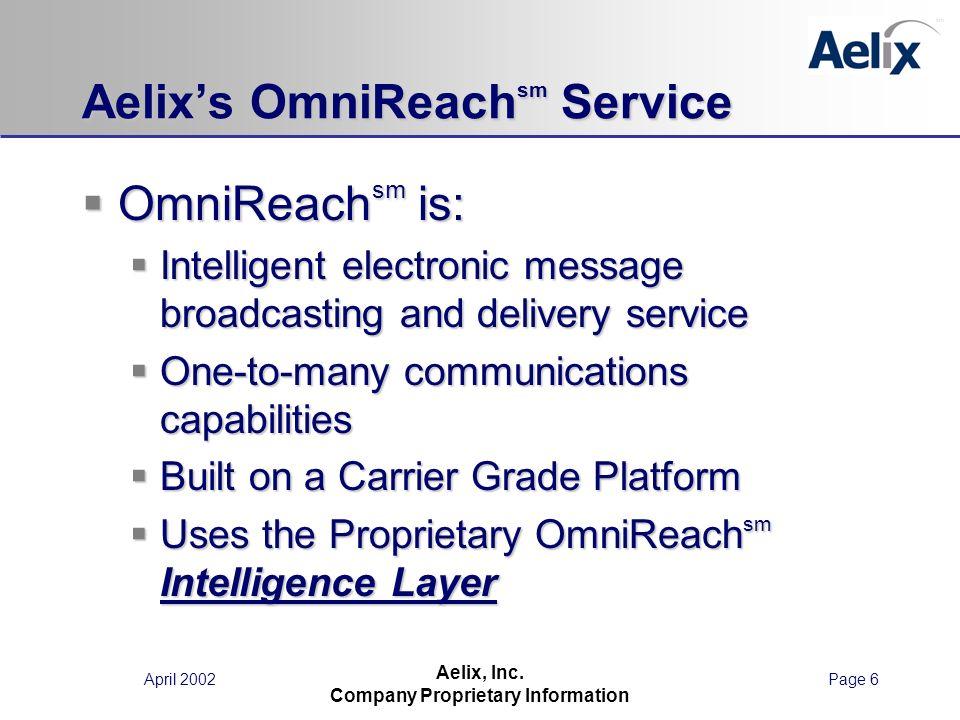 April 2002Page 6 Aelix, Inc. Company Proprietary Information Aelixs OmniReach sm Service OmniReach sm is: OmniReach sm is: Intelligent electronic mess