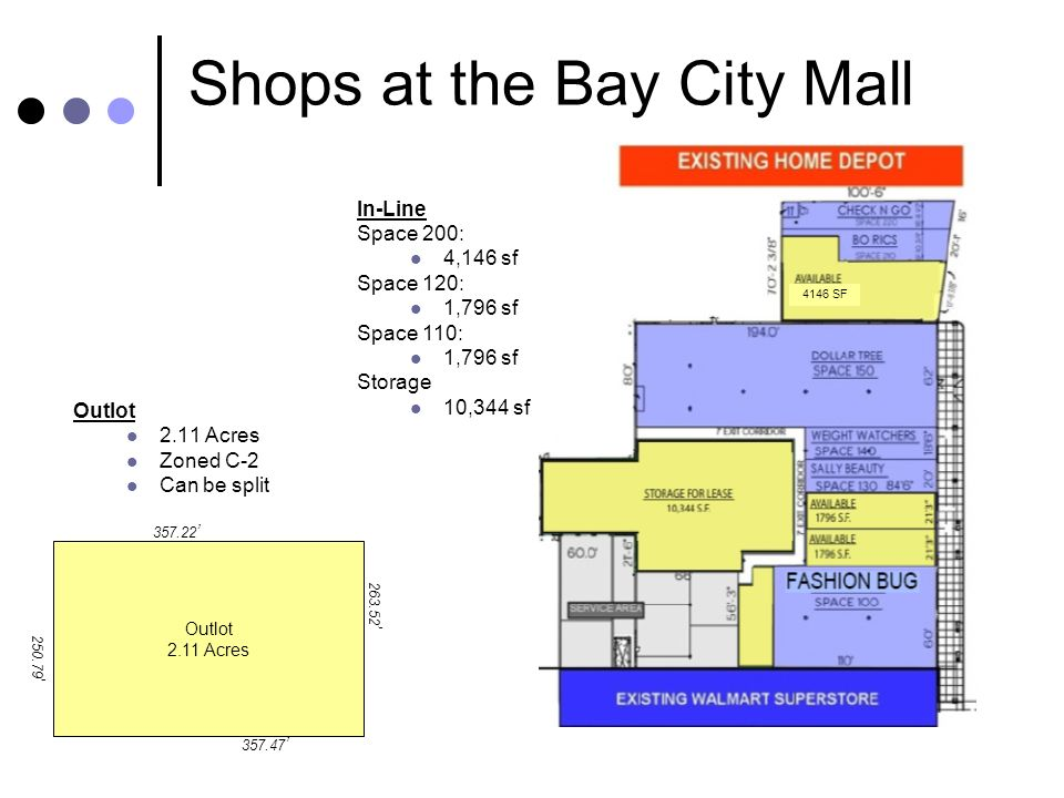 Shops at the Bay City Mall Outlot 2.11 Acres Zoned C-2 Can be split Outlot 2.11 Acres In-Line Space 200: 4,146 sf Space 120: 1,796 sf Space 110: 1,796 sf Storage 10,344 sf 357.22 357.47 250.79 263.52 4146 SF
