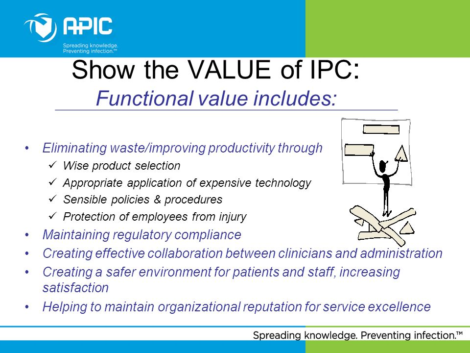Show the VALUE of IPC : Functional value includes: Eliminating waste/improving productivity through Wise product selection Appropriate application of