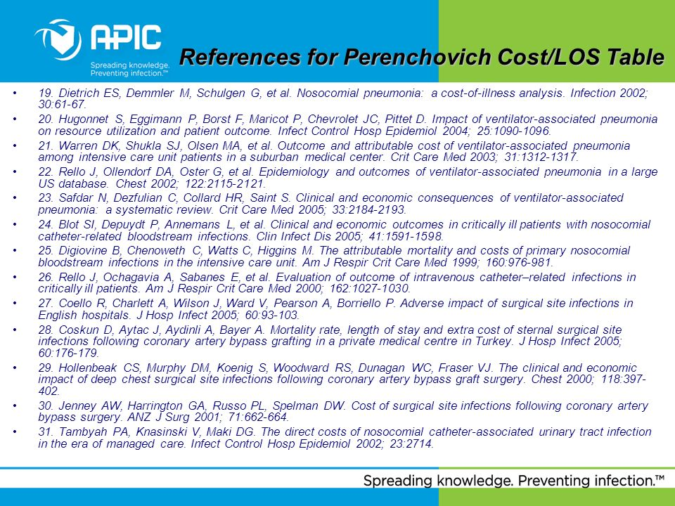 References for Perenchovich Cost/LOS Table References for Perenchovich Cost/LOS Table 19. Dietrich ES, Demmler M, Schulgen G, et al. Nosocomial pneumo