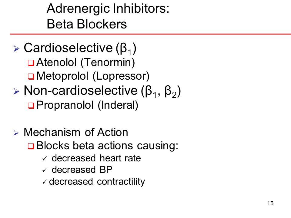 15 Adrenergic Inhibitors: Beta Blockers Cardioselective (β 1 ) Atenolol (Tenormin) Metoprolol (Lopressor) Non-cardioselective (β 1, β 2 ) Propranolol