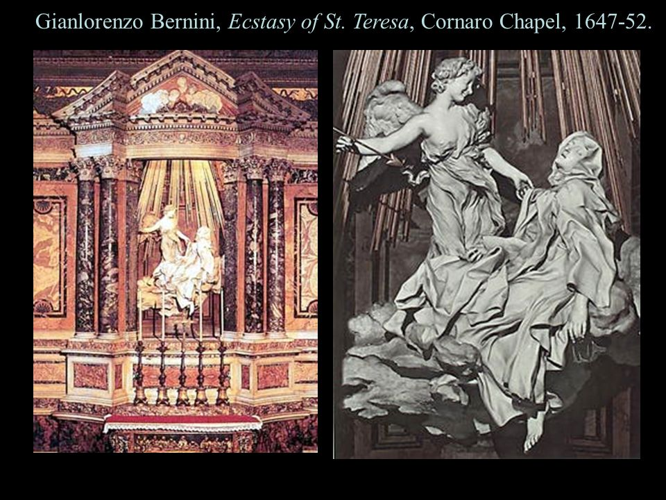 10 Gianlorenzo Bernini, Ecstasy of St. Teresa, Cornaro Chapel, 1647-52.