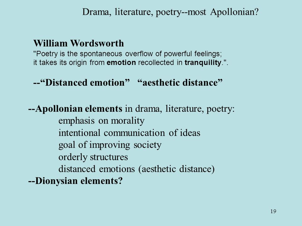19 William Wordsworth Poetry is the spontaneous overflow of powerful feelings; it takes its origin from emotion recollected in tranquility. .