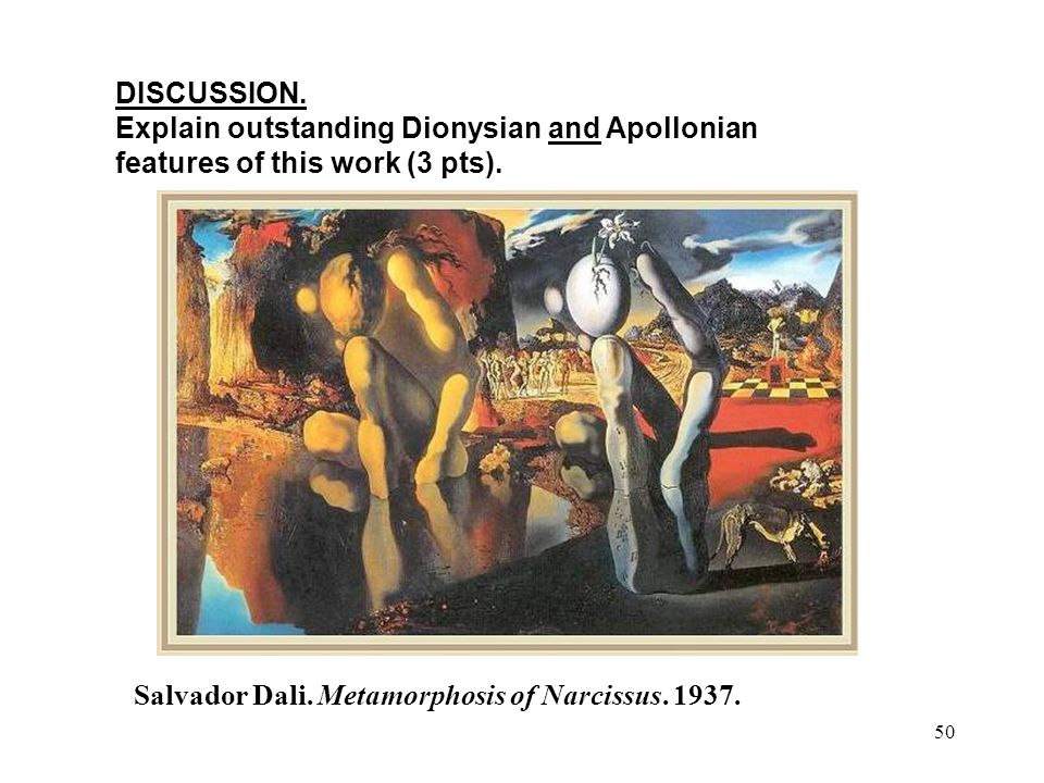 50 DISCUSSION. Explain outstanding Dionysian and Apollonian features of this work (3 pts).