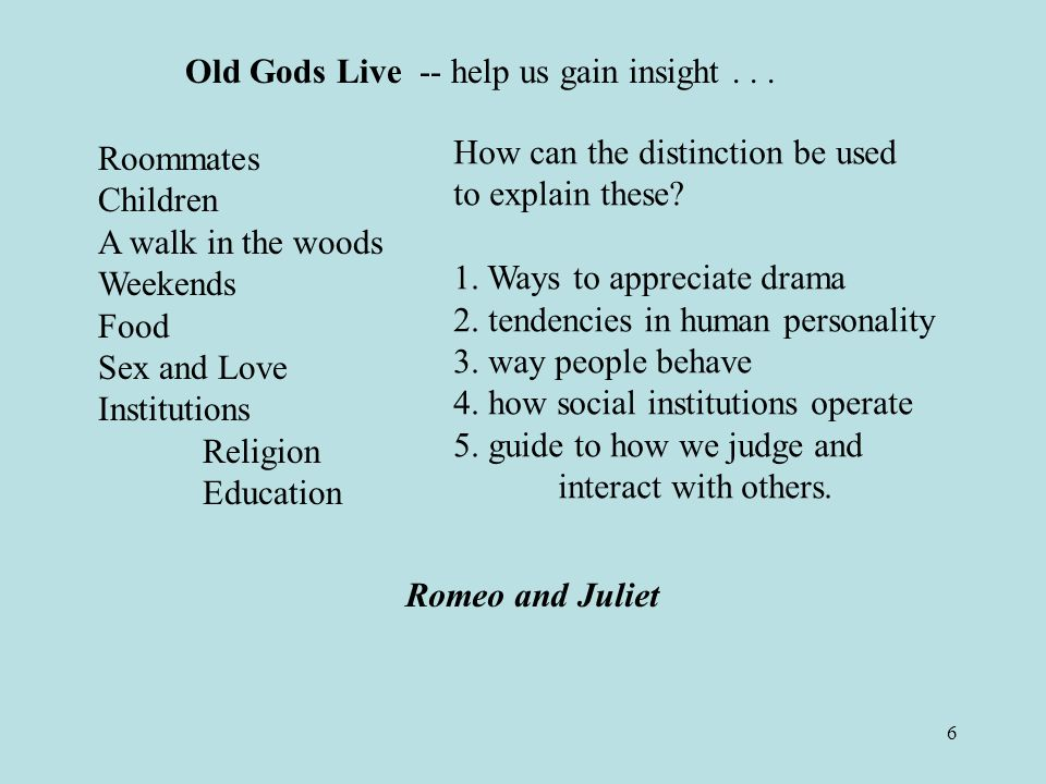 6 Old Gods Live -- help us gain insight...