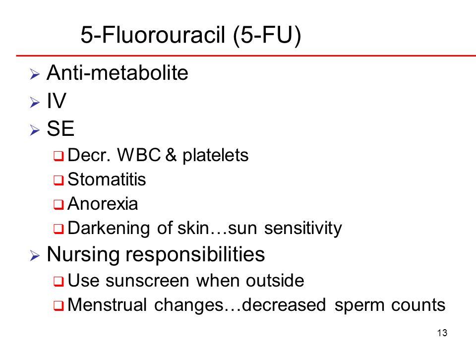 13 5-Fluorouracil (5-FU) Anti-metabolite IV SE Decr. WBC & platelets Stomatitis Anorexia Darkening of skin…sun sensitivity Nursing responsibilities Us