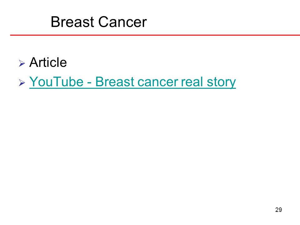 29 Breast Cancer Article YouTube - Breast cancer real story