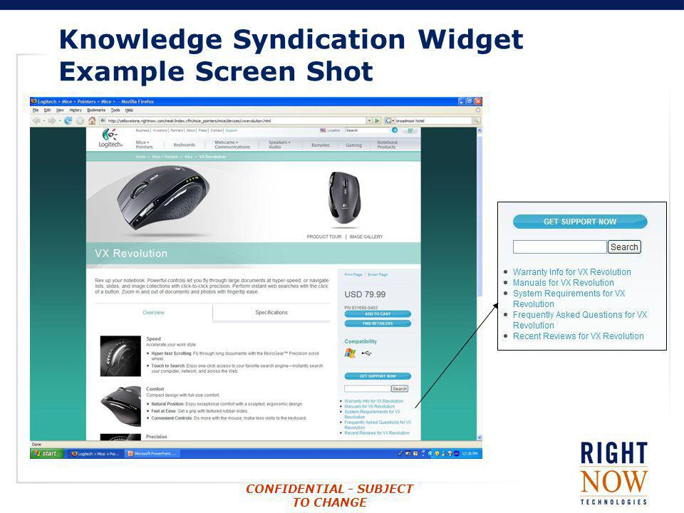 CONFIDENTIAL - SUBJECT TO CHANGE Knowledge Syndication Widget Example Screen Shot