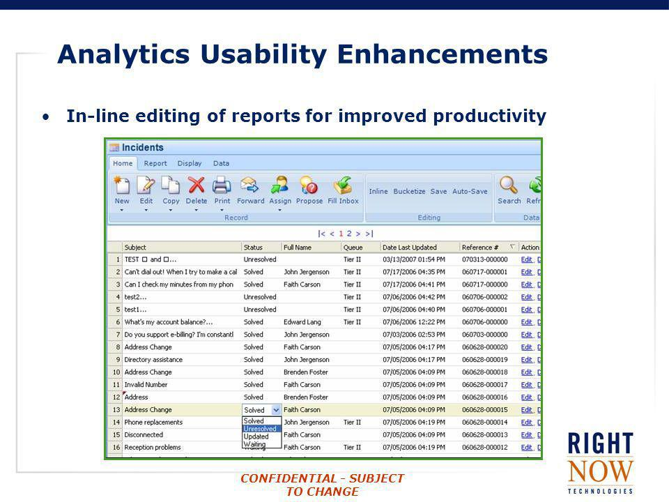 CONFIDENTIAL - SUBJECT TO CHANGE Analytics Usability Enhancements In-line editing of reports for improved productivity