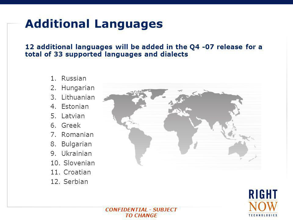 CONFIDENTIAL - SUBJECT TO CHANGE Additional Languages 12 additional languages will be added in the Q4 -07 release for a total of 33 supported language