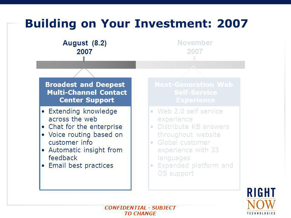 CONFIDENTIAL - SUBJECT TO CHANGE August (8.2) 2007 Broadest and Deepest Multi-Channel Contact Center Support Extending knowledge across the web Chat f