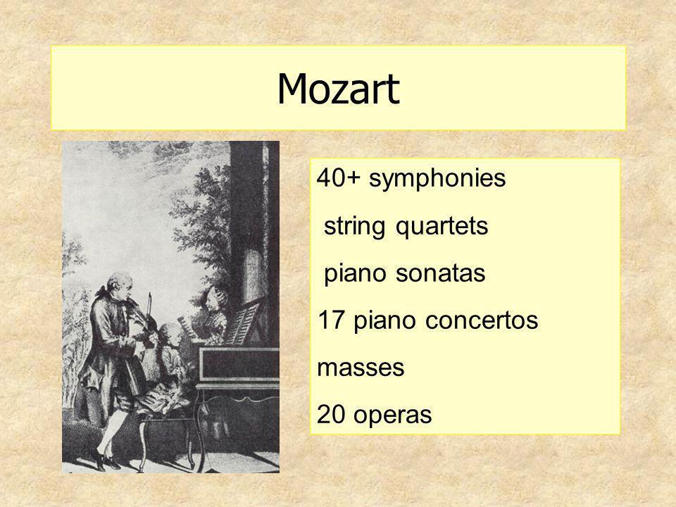 Mozart 40+ symphonies string quartets piano sonatas 17 piano concertos masses 20 operas
