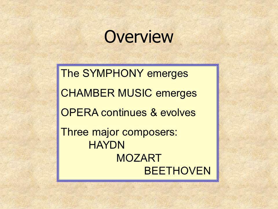Overview The SYMPHONY emerges CHAMBER MUSIC emerges OPERA continues & evolves Three major composers: HAYDN MOZART BEETHOVEN