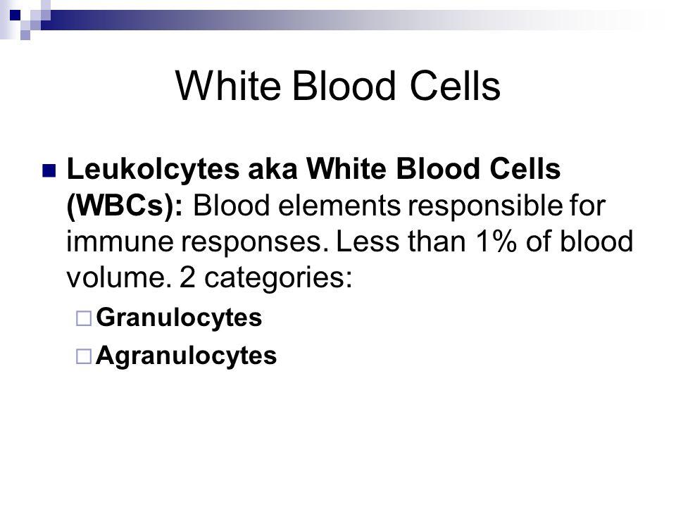 White Blood Cells Leukolcytes aka White Blood Cells (WBCs): Blood elements responsible for immune responses. Less than 1% of blood volume. 2 categorie