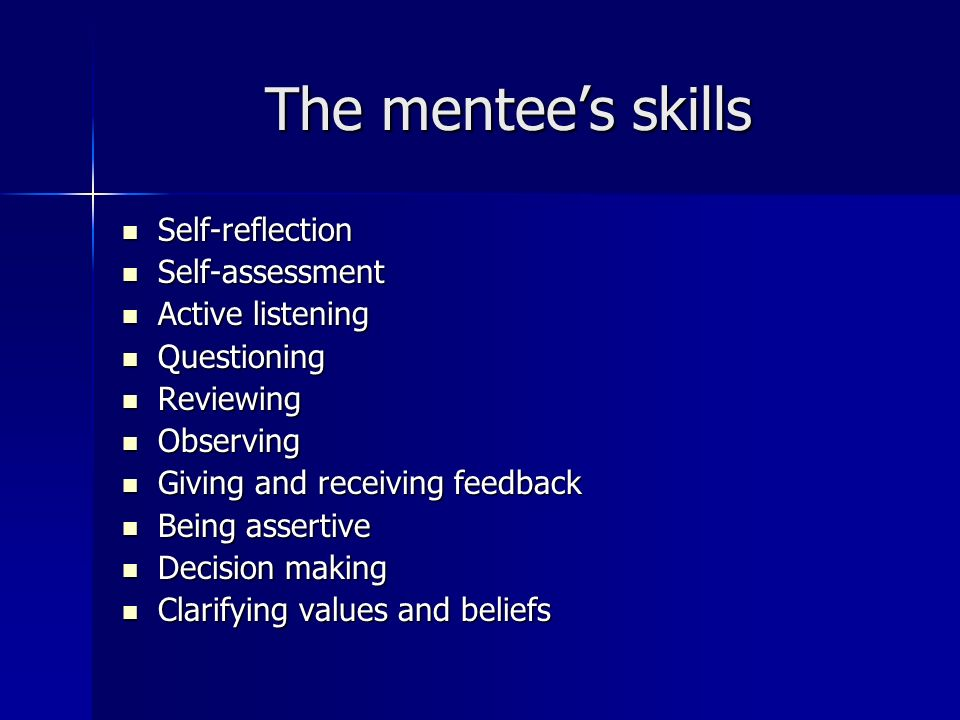 The mentees skills Self-reflection Self-reflection Self-assessment Self-assessment Active listening Active listening Questioning Questioning Reviewing Reviewing Observing Observing Giving and receiving feedback Giving and receiving feedback Being assertive Being assertive Decision making Decision making Clarifying values and beliefs Clarifying values and beliefs