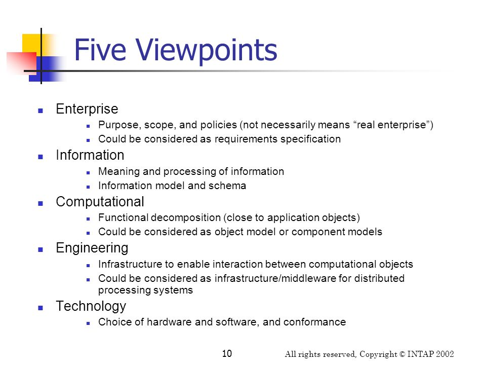 All rights reserved, Copyright © INTAP 2002 10 Five Viewpoints Enterprise Purpose, scope, and policies (not necessarily means real enterprise) Could b