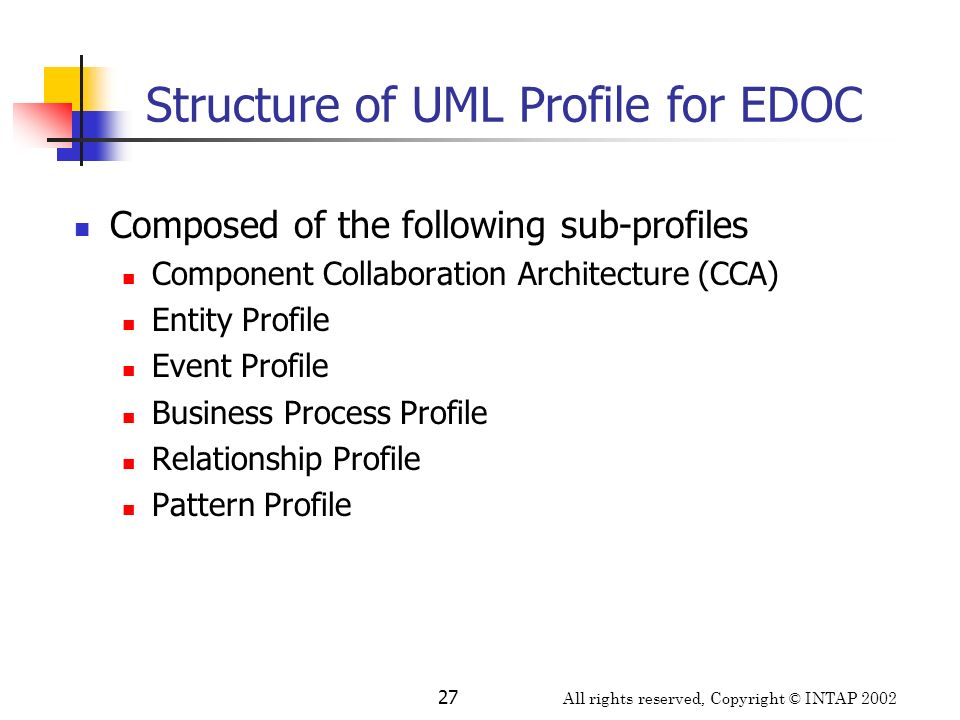 All rights reserved, Copyright © INTAP 2002 27 Structure of UML Profile for EDOC Composed of the following sub-profiles Component Collaboration Archit