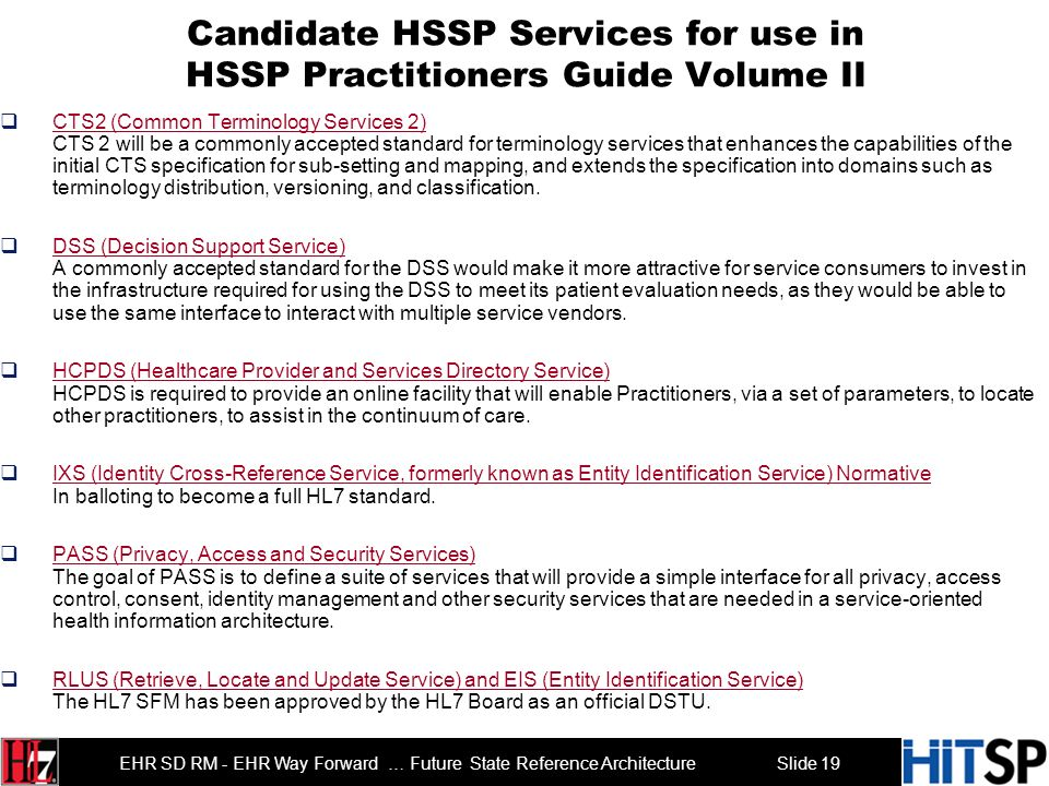 Slide 18 EHR SD RM - EHR Way Forward … Future State Reference Architecture Agenda Roll Call and Introductions 3 min Overview Agenda 2 min Overview of