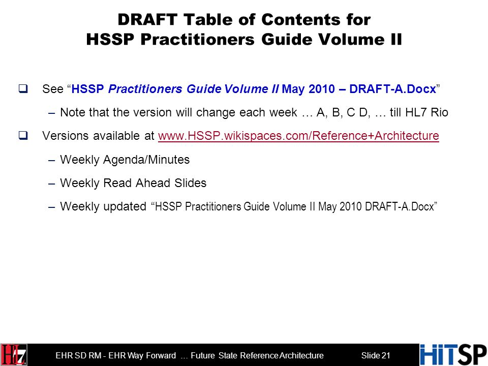 Slide 20 EHR SD RM - EHR Way Forward … Future State Reference Architecture Agenda Roll Call and Introductions 3 min Overview Agenda 2 min Overview of