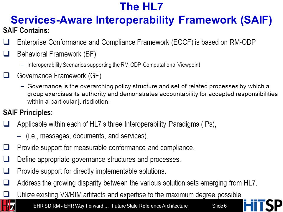 Slide 5 EHR SD RM - EHR Way Forward … Future State Reference Architecture Agenda Roll Call and Introductions 3 min Overview Agenda 2 min Overview of H