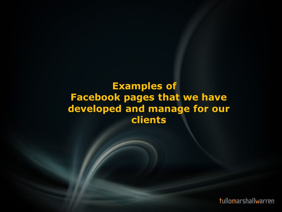 Examples of Facebook pages that we have developed and manage for our clients