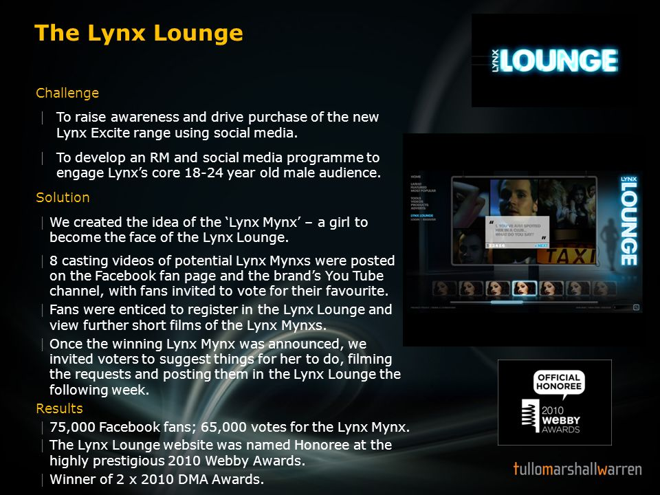 The Lynx Lounge Challenge To raise awareness and drive purchase of the new Lynx Excite range using social media. To develop an RM and social media pro