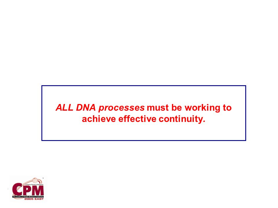 . ALL DNA processes must be working to achieve effective continuity.