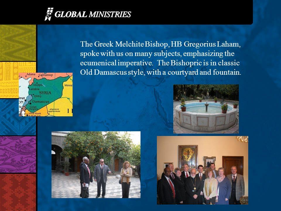 The Greek Melchite Bishop, HB Gregorius Laham, spoke with us on many subjects, emphasizing the ecumenical imperative.