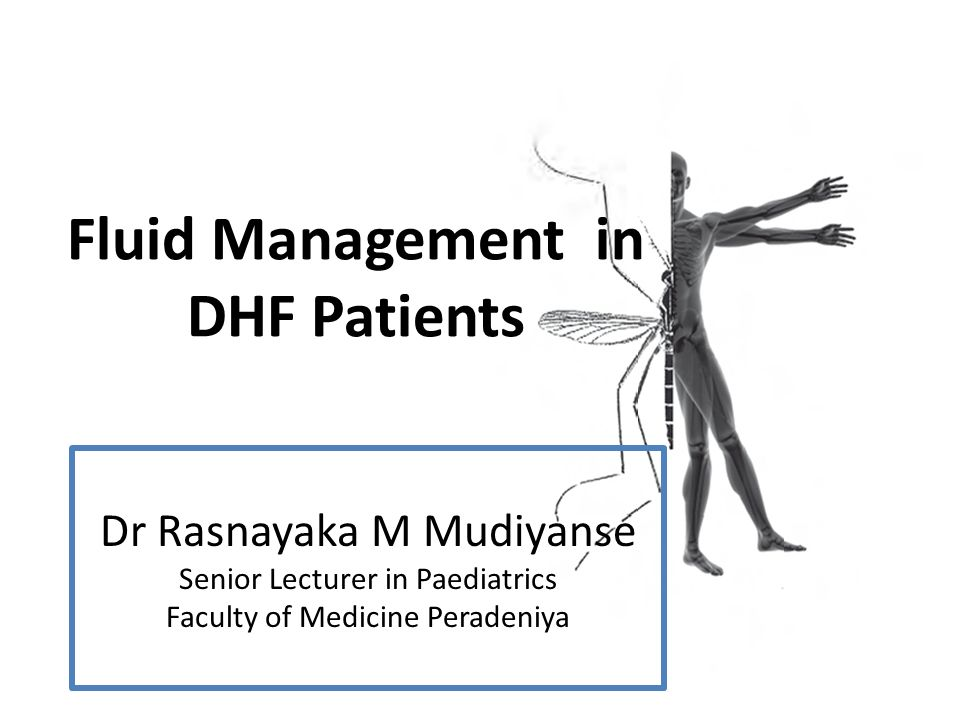 Fluid Management in DHF Patients Dr Rasnayaka M Mudiyanse Senior Lecturer in Paediatrics Faculty of Medicine Peradeniya
