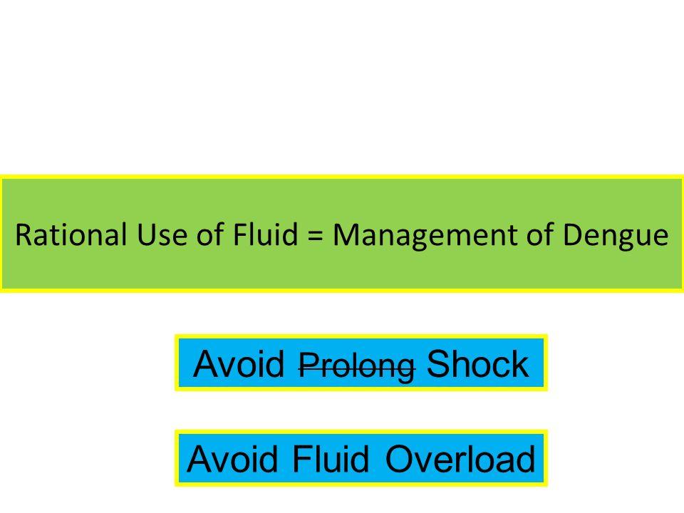 Rational Use of Fluid = Management of Dengue Avoid Prolong Shock Avoid Fluid Overload