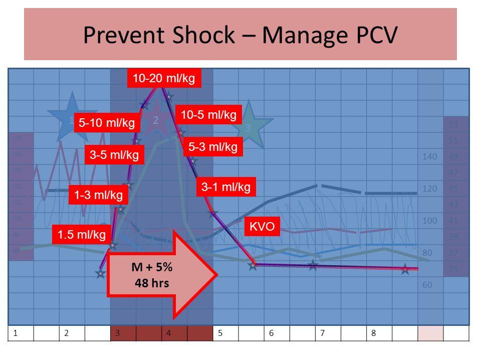 Prevent Shock – Manage PCV 53 105 51 104 14049 103 47 102 12045 101 43 100 41 99 39 98 8037 35 60 12345678 12 3 M + 5% 48 hrs 20-10 ml/kg 10-5 ml/kg 5