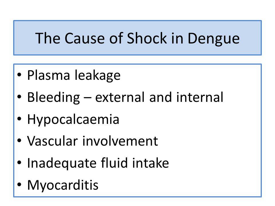 The Cause of Shock in Dengue Plasma leakage Bleeding – external and internal Hypocalcaemia Vascular involvement Inadequate fluid intake Myocarditis