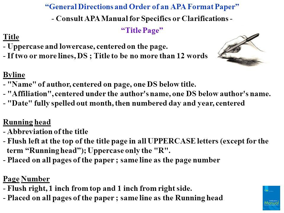 Apa paper order