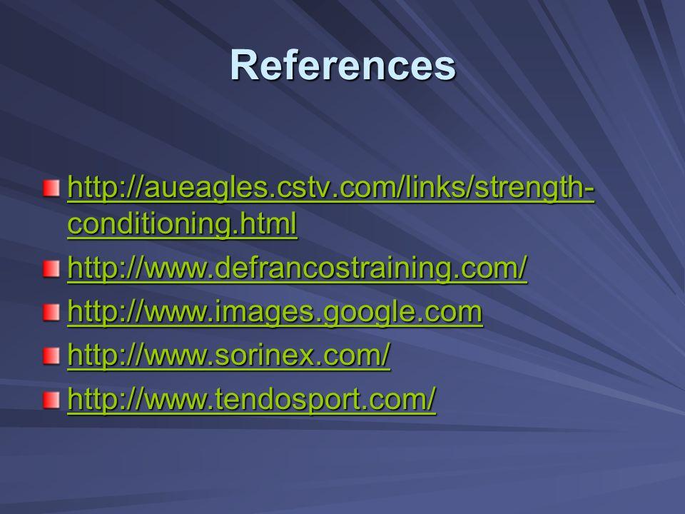 References http://aueagles.cstv.com/links/strength- conditioning.html http://aueagles.cstv.com/links/strength- conditioning.html http://www.defrancost