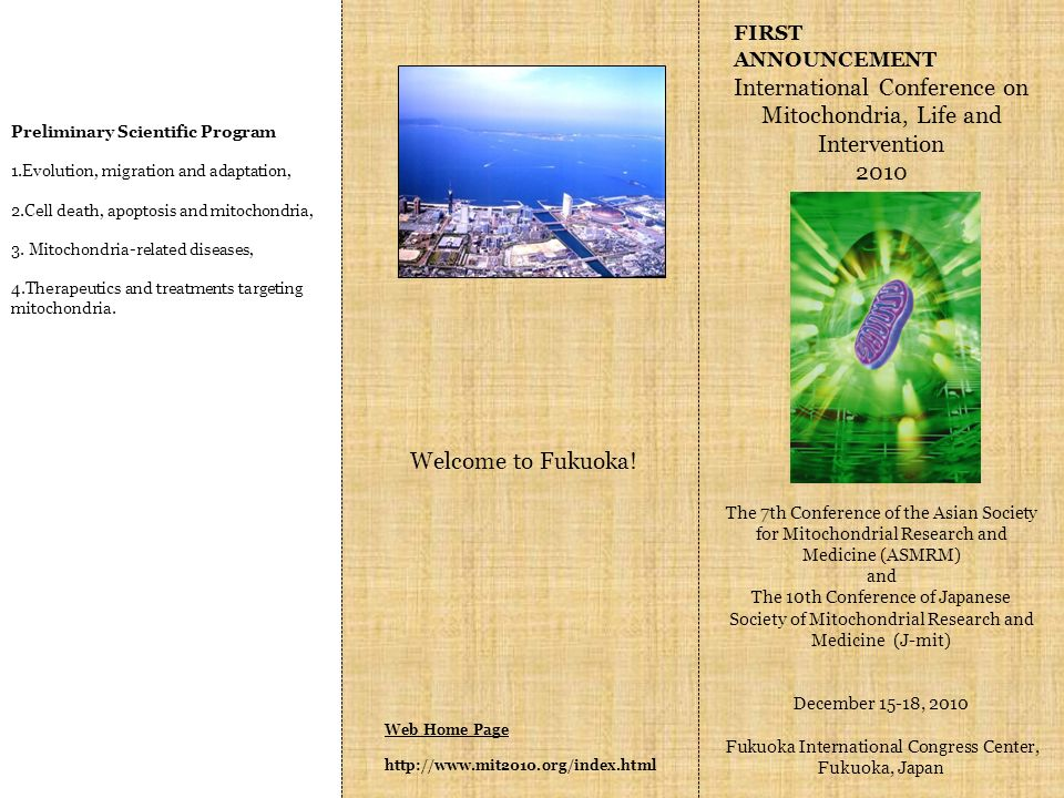 Web Home Page   FIRST ANNOUNCEMENT International Conference on Mitochondria, Life and Intervention 2010 The 7th Conference of the Asian Society for Mitochondrial Research and Medicine (ASMRM) and The 10th Conference of Japanese Society of Mitochondrial Research and Medicine (J-mit) December 15-18, 2010 Fukuoka International Congress Center, Fukuoka, Japan Preliminary Scientific Program 1.Evolution, migration and adaptation, 2.Cell death, apoptosis and mitochondria, 3.