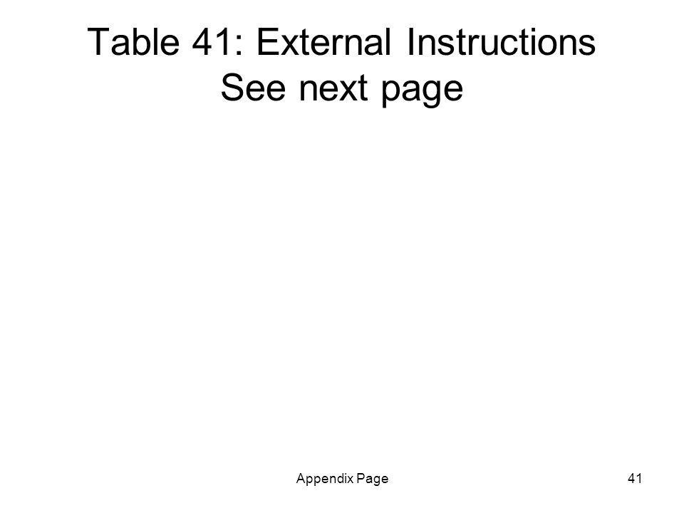Appendix Page41 Table 41: External Instructions See next page