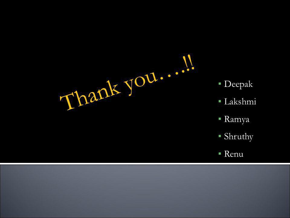 Thank you….!! Deepak Lakshmi Ramya Shruthy Renu