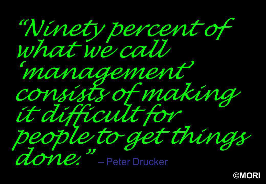 ©MORI Ninety percent of what we call management consists of making it difficult for people to get things done. – Peter Drucker