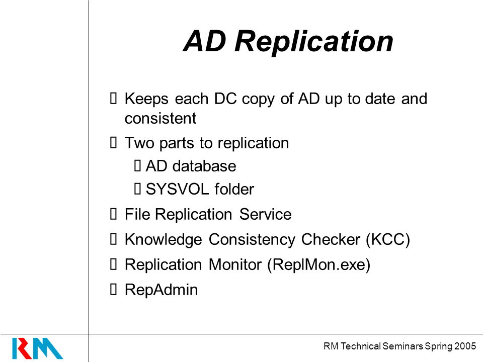 RM Technical Seminars Spring 2005 AD Replication Keeps each DC copy of AD up to date and consistent Two parts to replication AD database SYSVOL folder File Replication Service Knowledge Consistency Checker (KCC) Replication Monitor (ReplMon.exe) RepAdmin