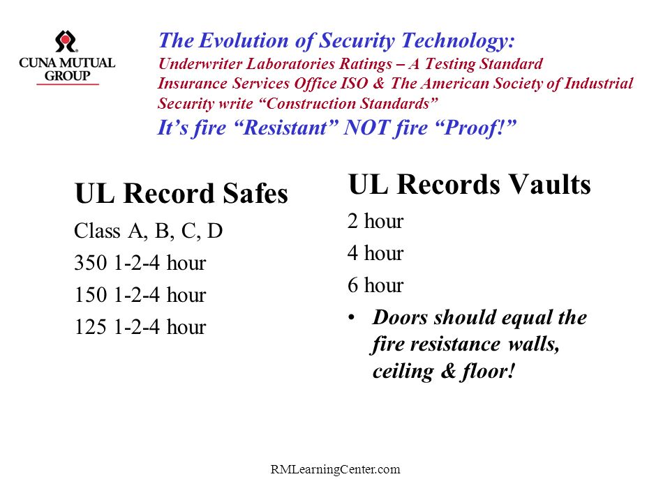 RMLearningCenter.com The Evolution of Security Technology: Underwriter Laboratories Ratings – A Testing Standard Insurance Services Office ISO & The A